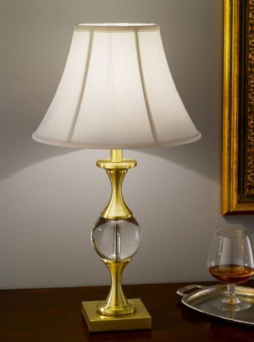 Franklite TL898 Satin Brass Table Lamp (Class 2 Double Insulated)